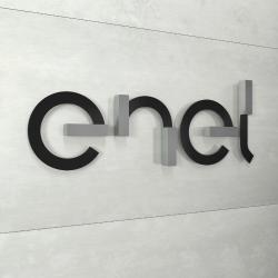 Diseño de logotipo e imagen corporativa de Enel en Madrid.